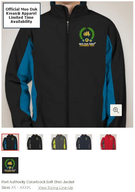 Official Licensed Moo Duk Kwan apparel available on multiple color combination Port Authority name brand jackets for guys