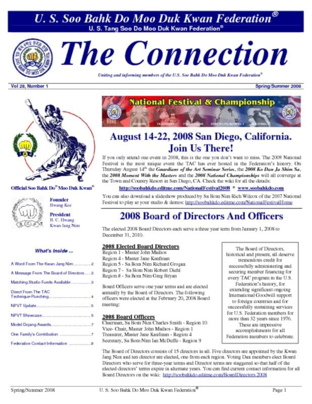 thumbnail of 2008 03 29 Usa Moo Duk Kwan Federation Newsletter